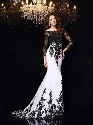 Sheath/Column Lace Scoop Long Sleeves Sweep/Brush Train Chiffon Dresses