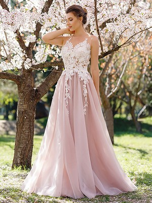 A-Line/Princess Applique Jewel Sleeveless Floor-Length Tulle Dresses