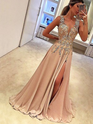 A-Line/Princess Applique V-neck Sleeveless Floor-Length Silk like Satin Dresses