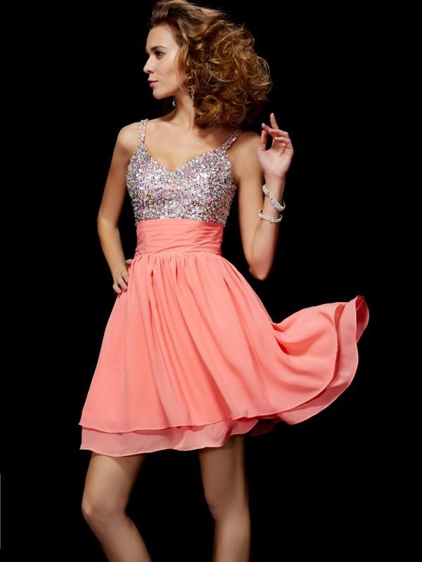 A-Line/Princess Beading V-neck Sleeveless Short/Mini Chiffon Dresses