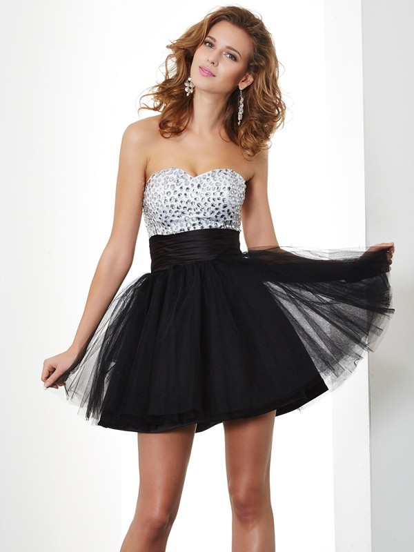 A-Line/Princess Beading Sweetheart Sleeveless Short/Mini Organza Dresses