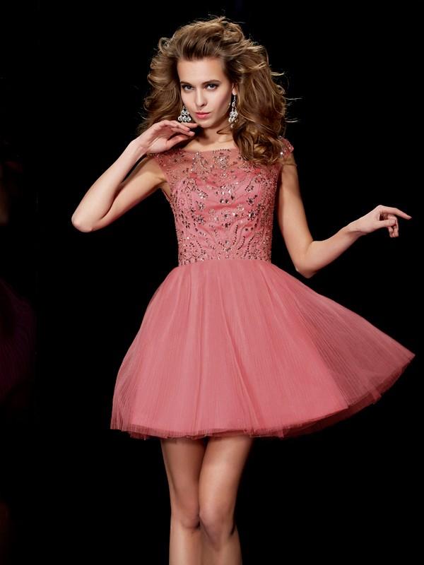 A-Line/Princess Beading Bateau Sleeveless Short/Mini Satin Dresses