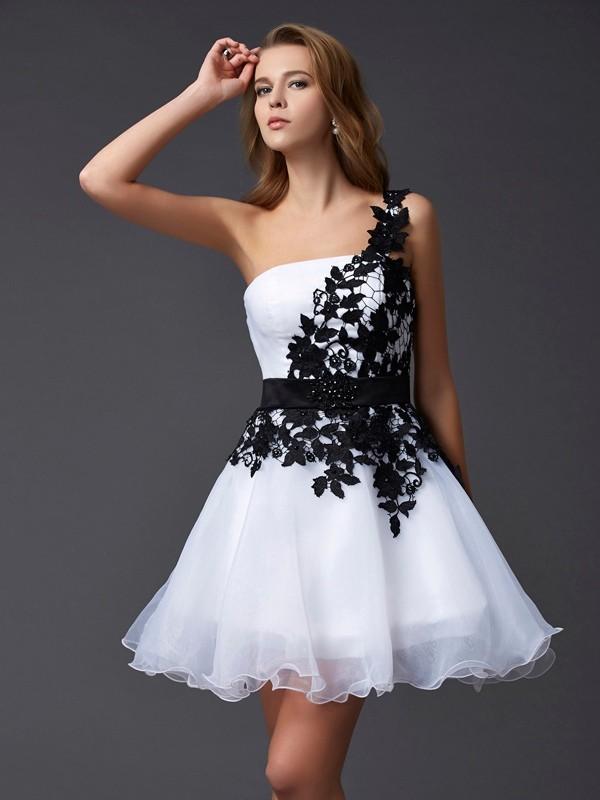 A-Line/Princess Lace One-Shoulder Sleeveless Short/Mini Organza Dresses