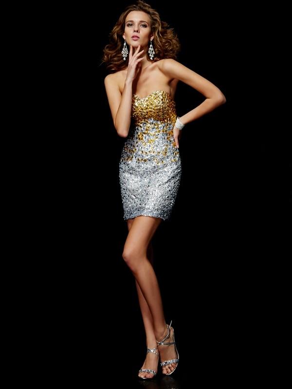 Sheath/Column Beading Sweetheart Sleeveless Short/Mini Lace Dresses