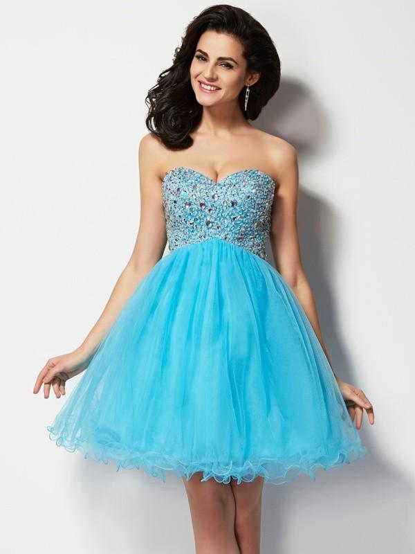 A-Line/Princess Beading Sweetheart Sleeveless Short/Mini Tulle Dresses