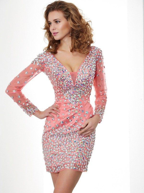 Sheath/Column Beading V-neck Long Sleeves Short/Mini Chiffon Dresses