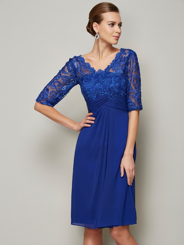 Sheath/Column Lace V-neck 1/2 Sleeves Knee-Length Chiffon Mother of the Bride Dresses