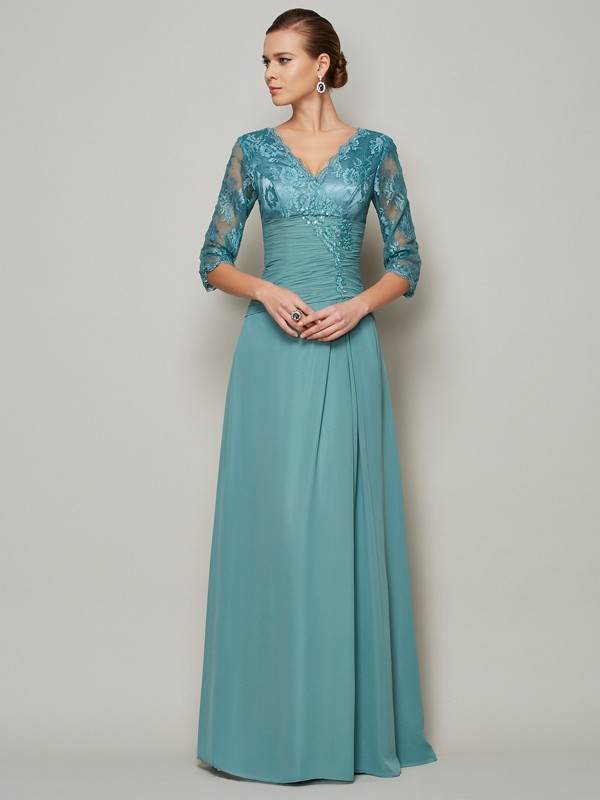 A-Line/Princess Lace V-neck 3/4 Sleeves Floor-Length Chiffon Mother of the Bride Dresses
