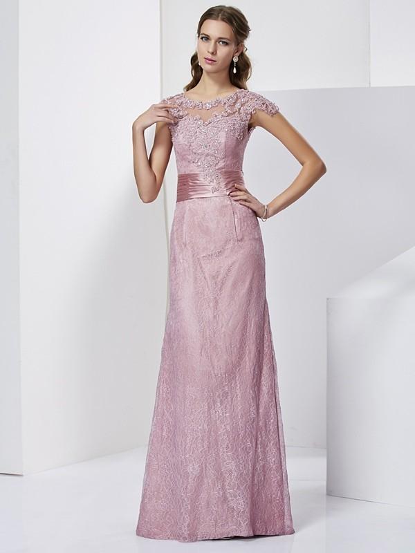 Sheath/Column Lace High Neck Short Sleeves Floor-Length Elastic Woven Satin Mother of the Bride Dresses