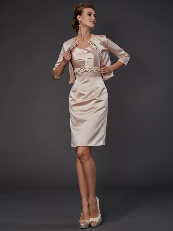 Sheath/Column Beading Square Sleeveless Knee-Length Satin Mother of the Bride Dresses