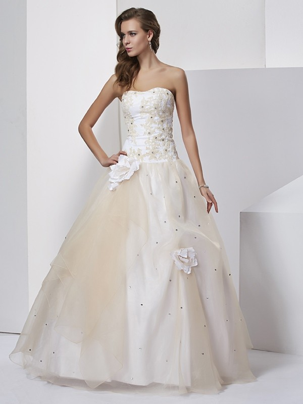 Ball Gown Hand-Made Flower Sweetheart Sleeveless Floor-Length Tulle Dresses