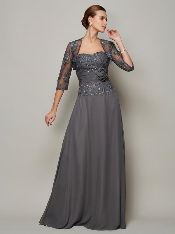 A-Line/Princess Applique Sweetheart Sleeveless Floor-Length Chiffon Mother of the Bride Dresses