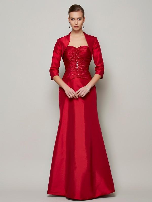A-Line/Princess Beading Sweetheart Sleeveless Floor-Length Taffeta Dresses