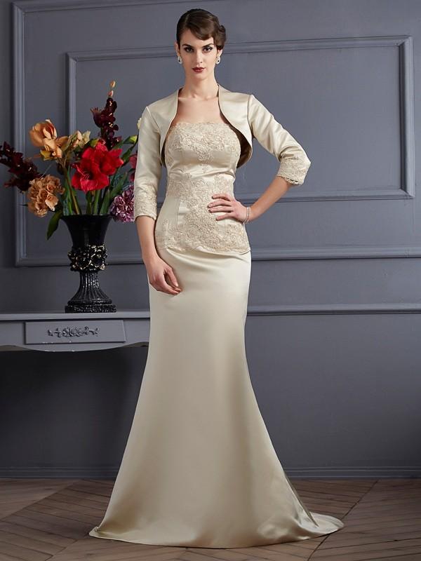 Trumpet/Mermaid Applique Strapless Sleeveless Sweep/Brush Train Satin Mother of the Bride Dresses
