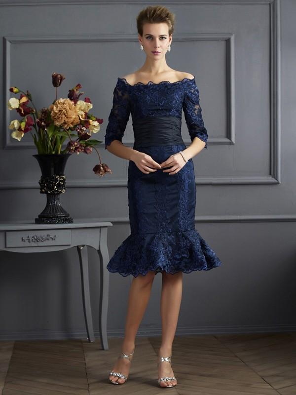 Sheath/Column Off-the-Shoulder 3/4 Sleeves Knee-Length Taffeta Mother of the Bride Dresses