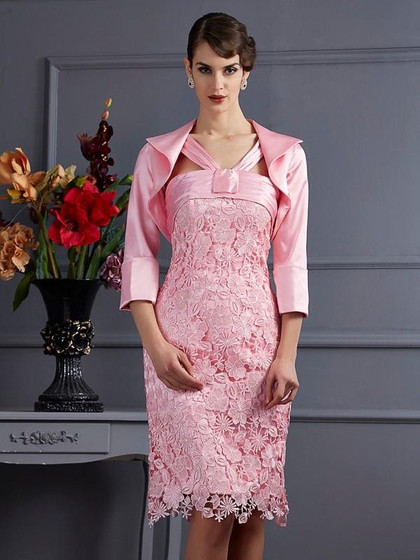 Sheath/Column Lace Halter Sleeveless Knee-Length Elastic Woven Satin Mother of the Bride Dresses