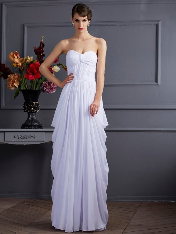 Sheath/Column Pleats Sweetheart Sleeveless Floor-Length Chiffon Bridesmaid Dresses