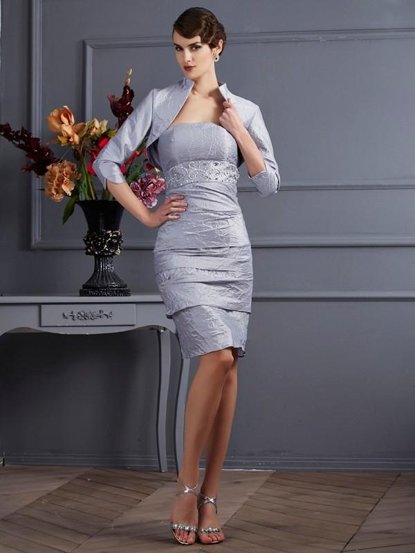 Sheath/Column Strapless Sleeveless Knee-Length Taffeta Mother of the Bride Dresses