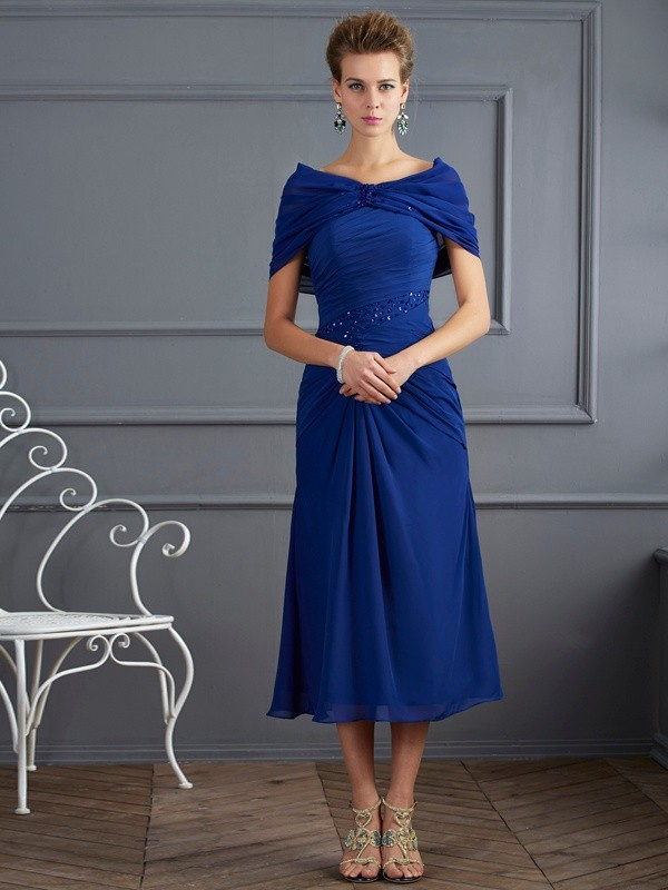 Sheath/Column Beading Scoop Short Sleeves Short/Mini Chiffon Mother of the Bride Dresses
