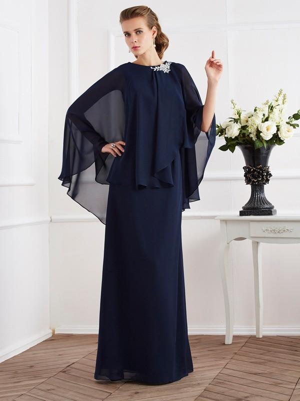 A-Line/Princess High Neck Sleeveless Floor-Length Chiffon Mother of the Bride Dresses