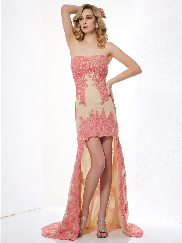 A-Line/Princess Applique Sweetheart Sleeveless Asymmetrical Lace Dresses