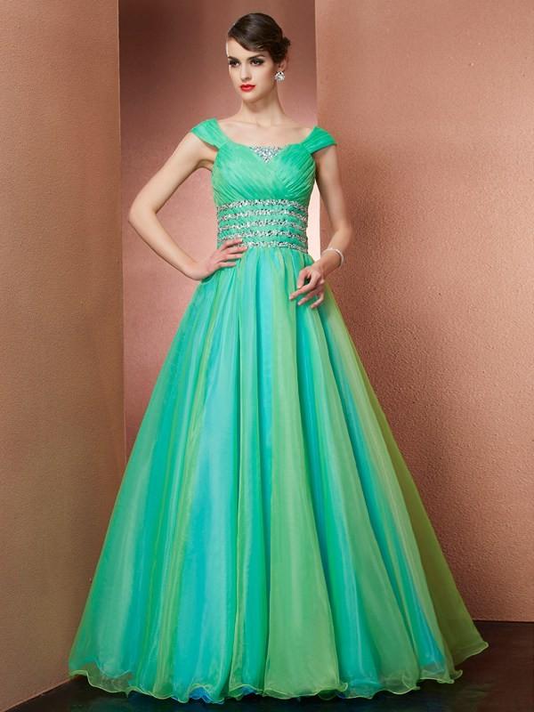 Ball Gown Beading Off-the-Shoulder Sleeveless Floor-Length Satin Dresses