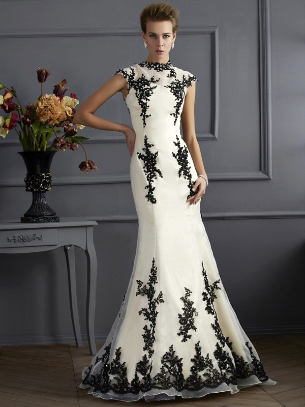 Trumpet/Mermaid Applique High Neck Short Sleeves Sweep/Brush Train Chiffon Mother of the Bride Dresses
