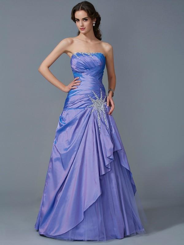 Trumpet/Mermaid Beading Strapless Sleeveless Floor-Length Taffeta Dresses
