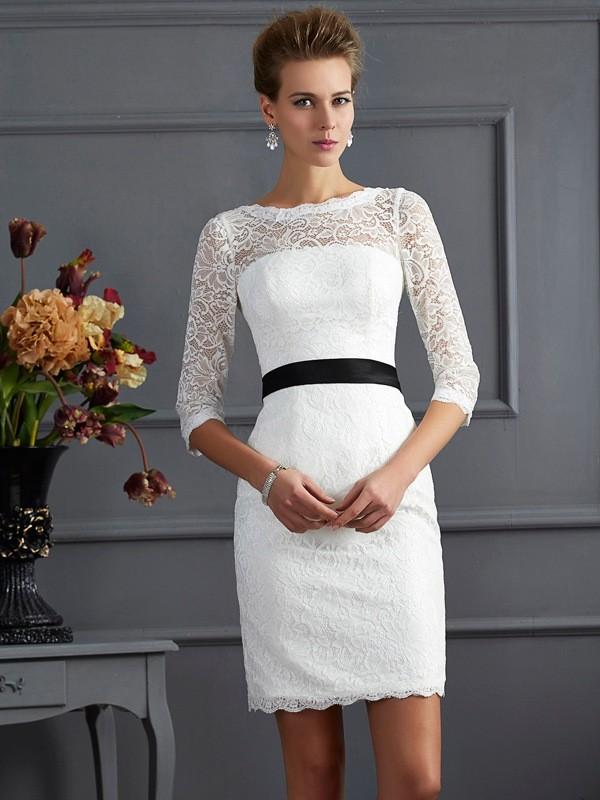 Sheath/Column Sash/Ribbon/Belt Scoop 3/4 Sleeves Short/Mini Lace Mother of the Bride Dresses
