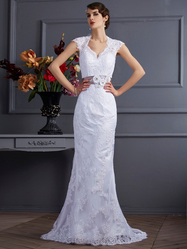 Trumpet/Mermaid Applique Other Sleeveless Sweep/Brush Train Satin Wedding Dresses
