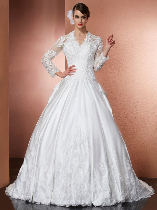 A-Line/Princess Applique V-neck Long Sleeves Cathedral Train Satin Wedding Dresses
