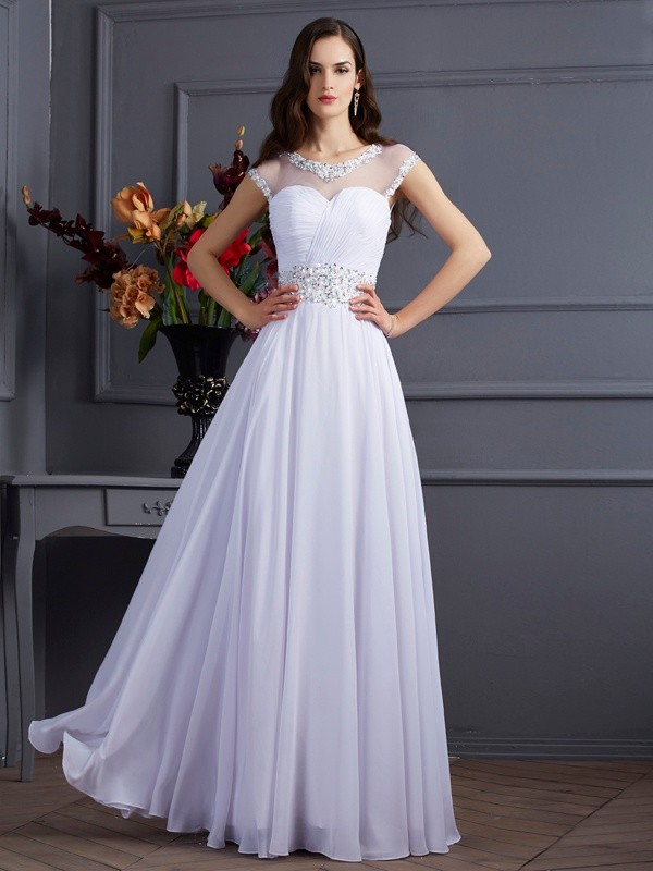 A-Line/Princess Beading Bateau Short Sleeves Floor-Length Chiffon Wedding Dresses
