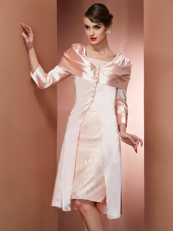 Sheath/Column Square Sleeveless Knee-Length Elastic Woven Satin Mother of the Bride Dresses