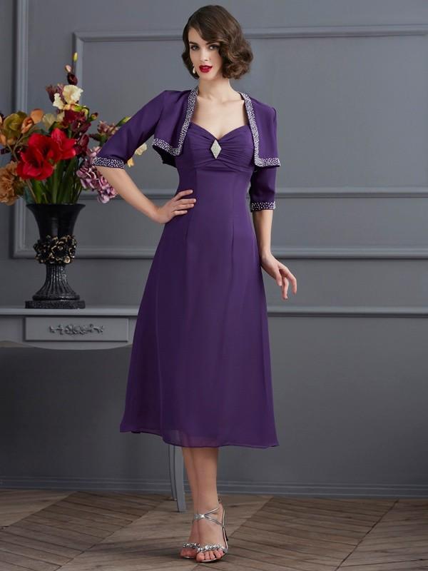A-Line/Princess Beading Spaghetti Straps Sleeveless Tea-Length Chiffon Mother of the Bride Dresses