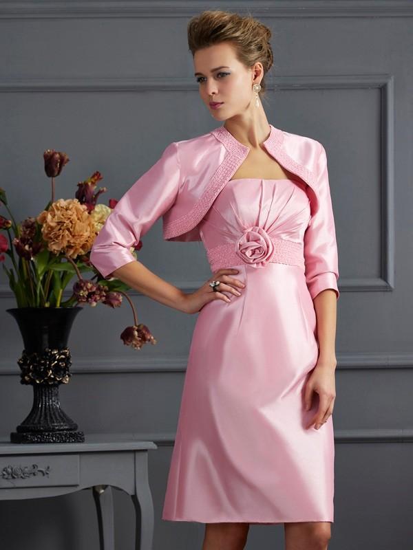 Sheath/Column Beading Strapless Sleeveless Knee-Length Taffeta Mother of the Bride Dresses