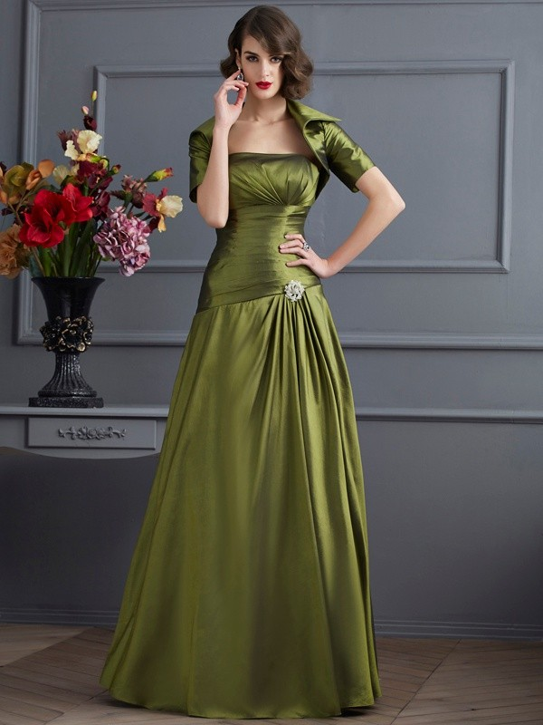 A-Line/Princess Beading Strapless Sleeveless Floor-Length Taffeta Mother of the Bride Dresses