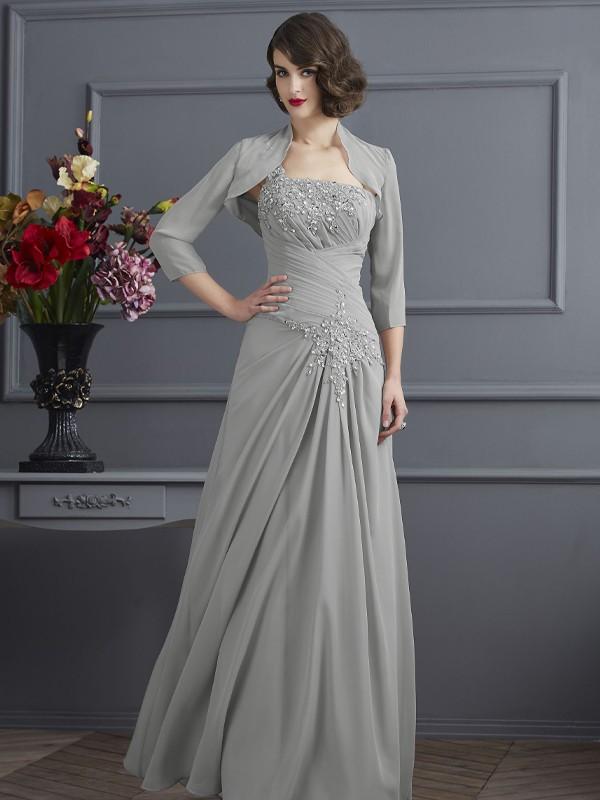 A-Line/Princess Beading One-Shoulder Sleeveless Floor-Length Chiffon Mother of the Bride Dresses
