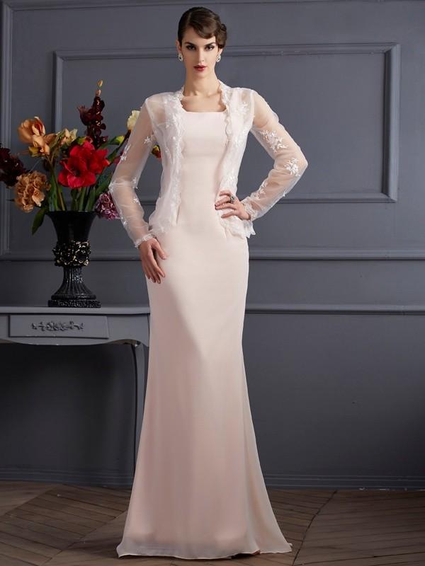 Sheath/Column Square Sleeveless Floor-Length Chiffon Mother of the Bride Dresses