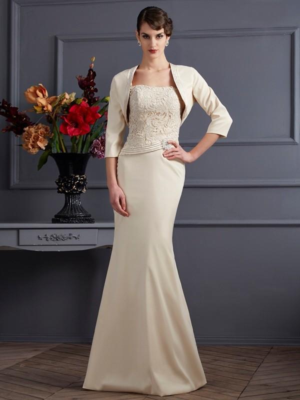 Sheath/Column Lace Square Sleeveless Floor-Length Elastic Woven Satin Mother of the Bride Dresses