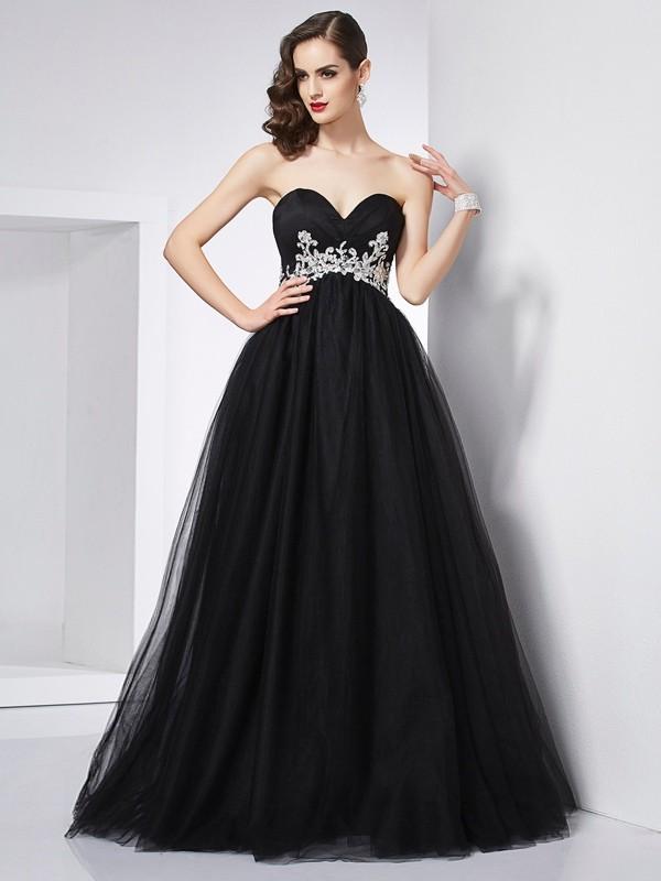 Ball Gown Applique Sweetheart Sleeveless Floor-Length Net Dresses