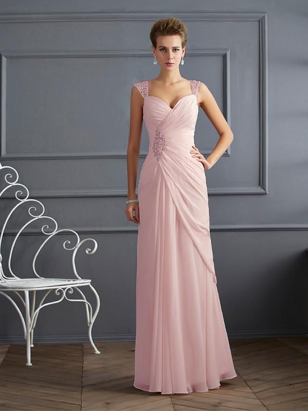Sheath/Column Beading Straps Sleeveless Floor-Length Chiffon Dresses