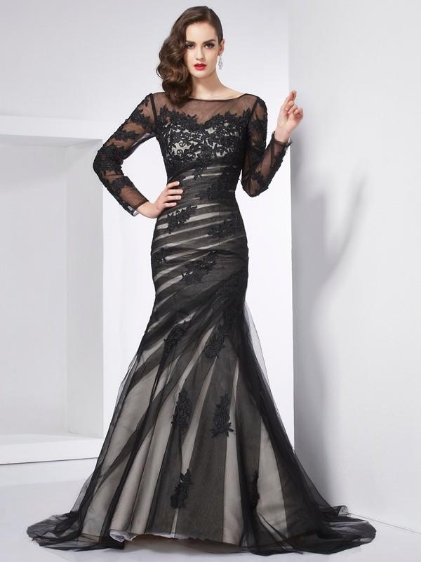 Trumpet/Mermaid Applique Jewel Long Sleeves Sweep/Brush Train Net Dresses
