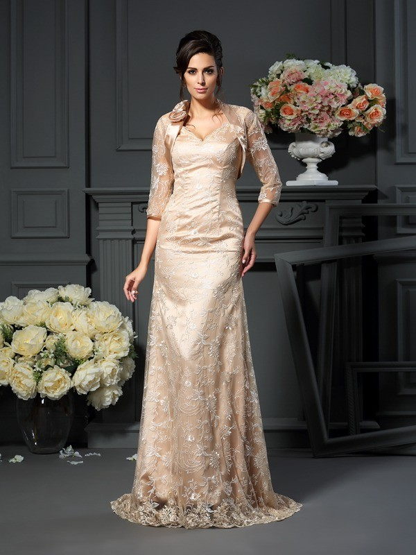 A-Line/Princess Lace V-neck Sleeveless Floor-Length Elastic Woven Satin Mother of the Bride Dresses