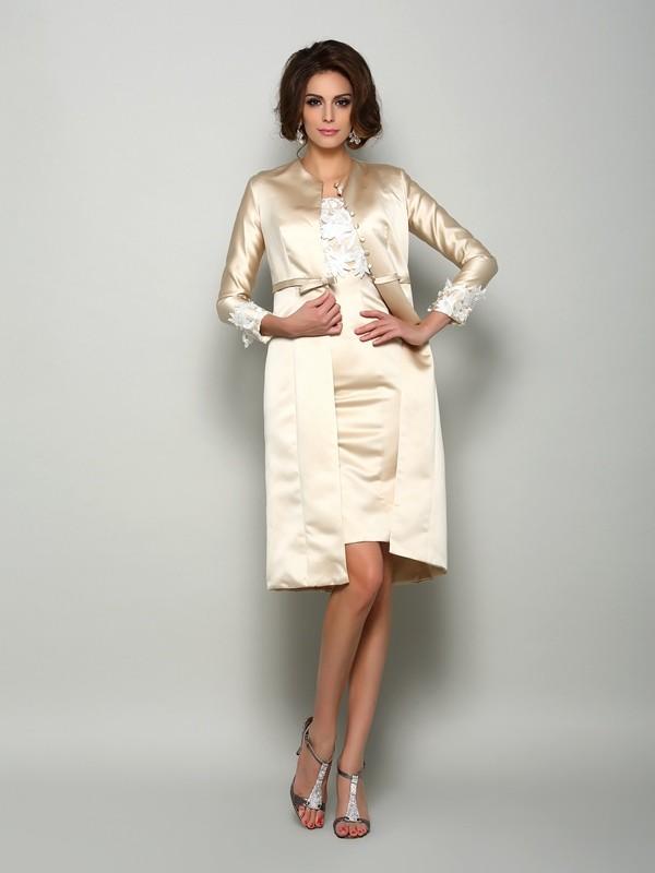 Sheath/Column Applique Square Short Sleeves Knee-Length Satin Mother of the Bride Dresses
