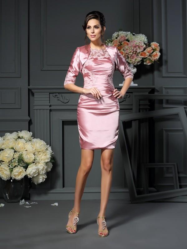 Sheath/Column Applique Scoop Sleeveless Short/Mini Elastic Woven Satin Mother of the Bride Dresses