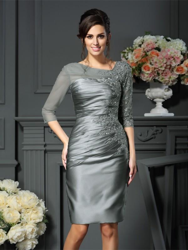 Sheath/Column Beading Scoop 1/2 Sleeves Knee-Length Satin Mother of the Bride Dresses
