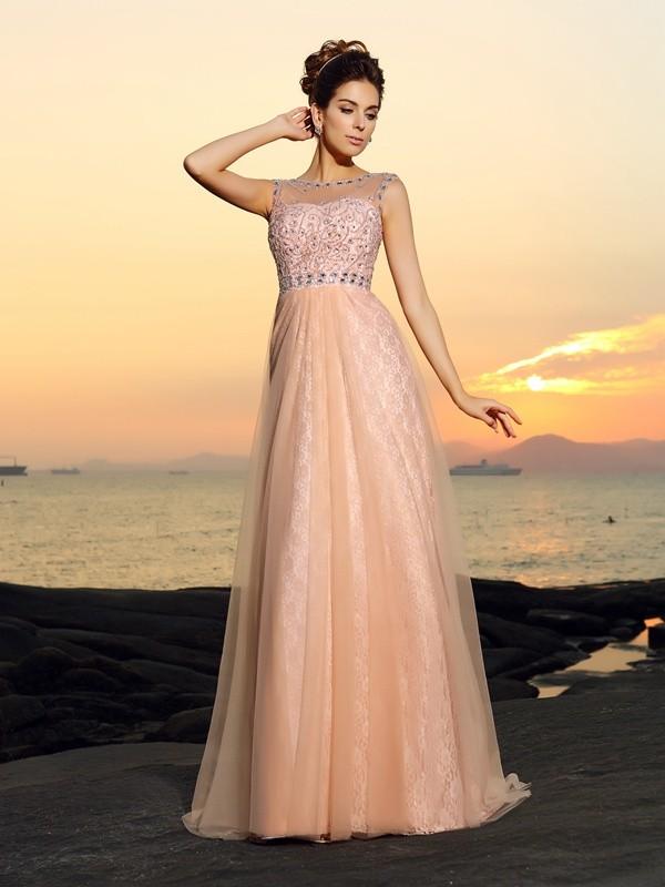 A-Line/Princess Lace Bateau Sleeveless Floor-Length Chiffon Dresses
