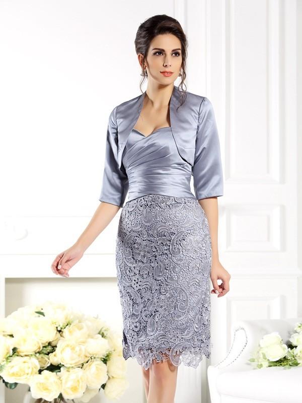 Sheath/Column Lace Sweetheart Sleeveless Knee-Length Satin Mother of the Bride Dresses