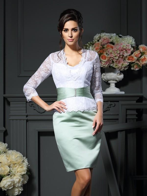 Sheath/Column Lace V-neck 1/2 Sleeves Short/Mini Satin Mother of the Bride Dresses