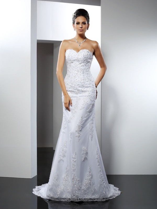 Trumpet/Mermaid Lace Sweetheart Sleeveless Court Train Satin Wedding Dresses